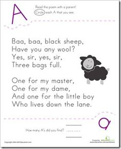 I absolutely L O V E this! Education.com has free nursery rhyme worksheets to download. What I think it so great is that they have mat...