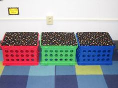 Kids seats made out of crates - great storage idea for the kids' room. From a classroom organizing project idea.