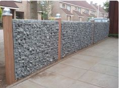 Marvelous Useful Ideas: Modern Fence Landscaping vynil fence landscaping.Fence And Gates Deer fence sport video. Gabion Fence, Gabion Wall, Fence Planters, Brick Fence, Concrete Fence, Pallet Fence, Metal Fence, Fence Landscaping, Backyard Fences