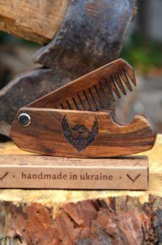Wooden Folding Comb Men Grooming kit Beard care Balm Brush