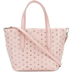 Jimmy Choo mini Sara tote ($1,690) ❤ liked on Polyvore featuring bags, handbags, tote bags, pink, tote purses, man bag, light pink tote bag, pink tote and pink purse