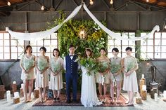 DIY Organic Wedding Party in Japan. May 2015. Wedding ceremony in an old warehouse, built in 1962.