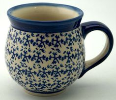 Large Belly Mug, blue thicket
