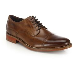 Cole Haan Perforated Leather Dress Shoes ($165) ❤ liked on Polyvore featuring men's fashion, men's shoes, men's dress shoes, apparel & accessories, dark brown, mens perforated shoes, mens cap toe shoes, mens lace up shoes, mens shoes and mens leather shoes