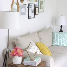 Some updates to my living room, including a new tripod floor lamp and a cute wool pillow!
