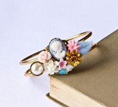 Vintage Bracelet - Shabby Chic Bracelet, Bridesmaid Gift, Victorian Style, Pink Blue and White Flower Bracelet, Collage Gold Cuff Bracelet