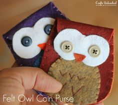 Felt Owl Coin Purses with Free Pattern