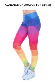 cc6784044483e2 Women's Leggings Printed Leggings Colorful Triangles Rainbow Legins High ◇  AVAILABLE ON AMAZON FOR: $14.88