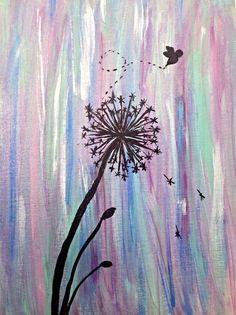 Dandelion and bumblebee silhouette painting on a by ColoradoColors, $25.00