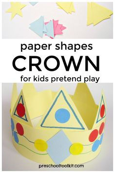 Paper shapes crown for kids pretend play. Preschool Art Lessons, Art Lessons Elementary, Preschool Activities, Make A Crown, Crown For Kids, Middle School Art, High School, Crown Crafts, Bible School Crafts