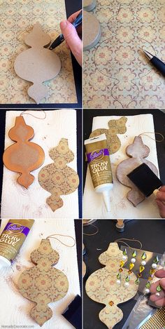 DIY Scrapbook Paper Christmas Tree Ornaments A tutorial to make easy, affordable Christmas tree ornaments with scrapbook paper and paper mache ornaments. Paper Christmas Ornaments, Christmas Tree Ornaments, Christmas Crafts, Diy Ornaments, Eid Moubarak, Fest Des Fastenbrechens, Decoraciones Ramadan, Jasmin Party, Ramadan Activities