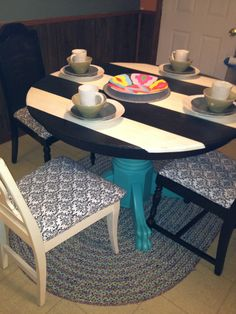 Old dining table... Repainted!!! Old chairs... Redone!!