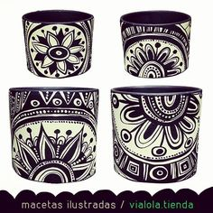 dolores pardo objetos (@vialola.tienda) | Instagram photos and videos Paint Garden Pots, Painted Plant Pots, Painted Flower Pots, Decorated Flower Pots, Garden Art, Pottery Painting Designs, Flower Pot Crafts, Creation Deco, Posca