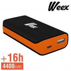 Batterie de Secours 4400mAh 1A + Câble USB - Weex Relax - Noir
