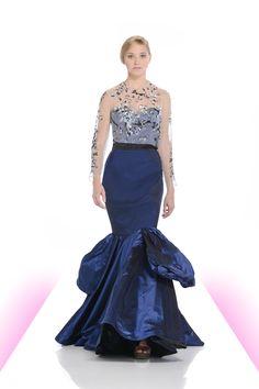 Iridescent blue taffeta trumpet gown with beaded bodice and black satin waistband.  #taffeta #beading #sheer #corset #fashion #michaeldepaulo #eveningwear #drama