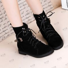 Retro leather buckle strap womens boots