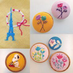 西荻窪の刺繍教室『アンナとラパン』参加者さんの作品。 スヌーピー、家なしでもかわいいですね!