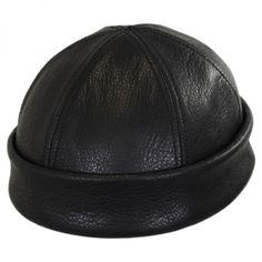 65211620db7 New York Hat Company Six Panel Leather Skull Cap Beanie Hat Beanies
