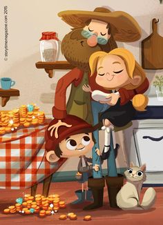Hansel and Gretel give dad a cuddle! Illustration by Betowers (https://www.behance.net/betowers) in Storytime Issue 13! ~ STORYTIMEMAGAZINE.COM