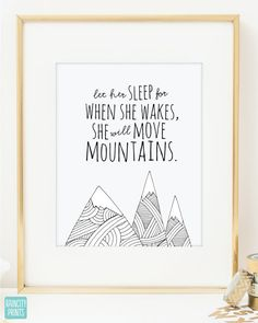 Girl Nursery Decor. When She Wakes She Will Move Mountains Art Print. Doodles Series Wall Art. Baby Gift. Home Decor. Inspirational Art