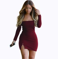 Sexy Low Cut Out Off The Shoulder Red Long Sleeve Dress Strapless Zipper Front Split Short Mini Spandex Black Bodycon Club Wear