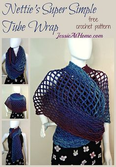 Nettie's Super Simple Tube Wrap - free crochet pattern by Jessie At Home. Make this beautiful mesh wrap with Lion Brand Heartland!