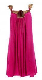 Sleeveless crepe magenta dress