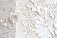 Handmade Paper Flower Wall Installation