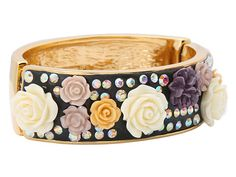 Crystal studded floral bangle from Betsey Johnson. #jewelry #fashion #accessories