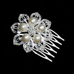 Rhinestone Pearl Bridal Hair Comb Wedding Jewelry Crystal Flower Side Tiara HANNELE Collection FREE Combine Shipping US CM005LX
