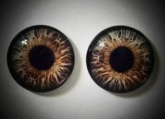 20mm Flat Backed Kahlua and Cream Brown Glass Eyes by RenegadeRose, $4.00