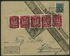 Germany Inflation 2Mx5 Airmail Dove Cover