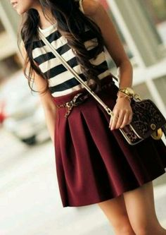 black & white stripes + burgundy. zazumi.com