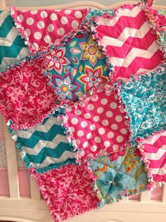 Baby girl chevron pink and teal rag quilt blanket READY TO SHIP