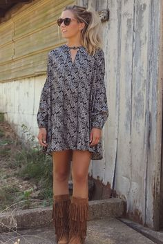 Fade To Fall Long Sleeve Printed Navy & Cream Floral Trapeze Dress