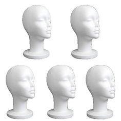 Hatop 5PCS Female Styrofoam Mannequin Manikin Head Model ...