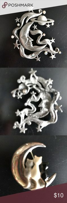 Assorted Decorative pins Beautiful moon & stars pin silver color(missing pin as seen in pic) 3 Kittys (gray,white, black)sitting on the ??, Kitty chasing butterfly (on a spring) silver color, Gold colored outline of Kitty?? JJ Jewelry Brooches