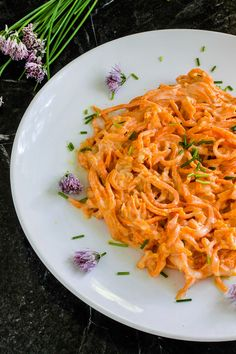 """Sweet Potato """"Noodles"""" with Cheesy Chive Sauce"""