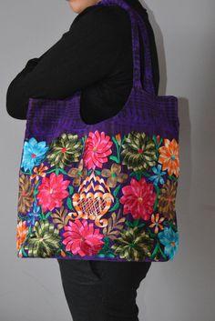 ON SALE! Hand Embroidered Flower bag from Chiapas | Purple Mexican bag | Flower bag | Beautiful bag | Colorful handbag |  Laptop Bag