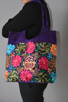 ON SALE! Hand Embroidered Flower bag from Chiapas | Purple Mexican bag | Flower bag | Beautiful bag | Colorful handbag |  Laptop Bag