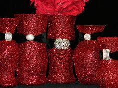 Red glitter vases...centerpiece.