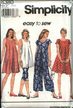 Simplicity Sewing Pattern 8380 Misses Size 12-16 Easy Maternity Top Tunic Dress Jumpsuit Romper
