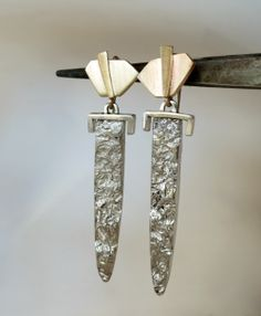 """I've named these """"Sword"""" earrings.  14K yellow gold and sterling.   By Anna Vosburg"""