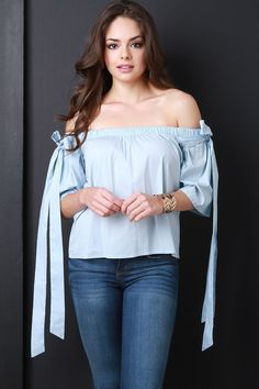 Off The Shoulder Bow Tie Top