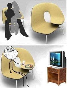 A FOOD TRAY ON A CHAIR! THATS AMAZING!!!!!!