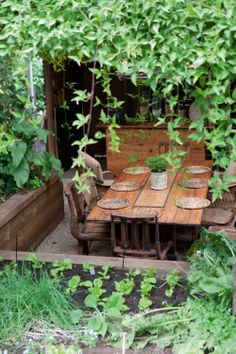 Veggie garden surrounding an out door table, I will have to incorporate this at home