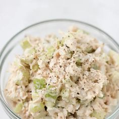Tuna Salad with White Tuna in Water, Celery, Sweet Onion, Mayonnaise, Celery Seed, Kosher Salt, Ground Pepper, Hard-Boiled Egg. Credits: Yummly.com