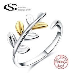 GS Brand Fashion Wedding Engagement Rings For Women Gold Silver Leaves Plain 925 Sterling Silver Rings Female Rings Bijoux