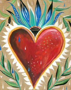 Sacred Heart Art Print | Wall Art | Folk Art| Love Painting | Katie Daisy | 8x10 | 11x14
