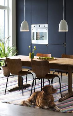 Dark and cozy dining room with wooden furniture and colorful interior.
